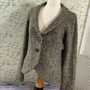 Cabi, knit, 2 button cardigan, L, marled neutrals